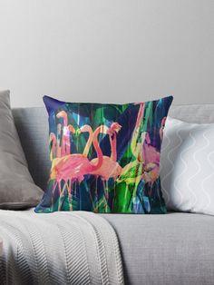 Throw Pillow romantic botanical floral bird indie green pink | Flamingo Dance by elenor27