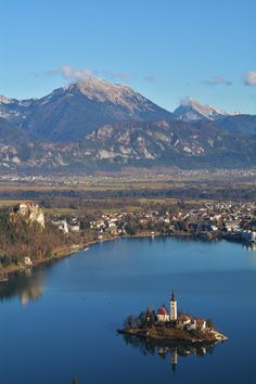 High Above Bled Slovenia with an Alpine Backdrop