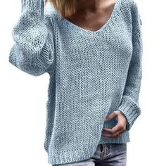 Find GodeyesWomen V-Neck Solid Lounge Baggy Long-Sleeve Knitting Sweater Top online. Shop the latest collection of GodeyesWomen V-Neck Solid Lounge Baggy Long-Sleeve Knitting Sweater Top from the popular stores - all in one Loose Knit Sweaters, Casual Sweaters, Pullover Sweaters, Sweaters For Women, Winter Sweaters, Knitting Sweaters, Women's Sweaters, Sweater Cardigan, Pullover Outfit