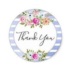 Rustic Floral Watercolor Modern Stripe Thank You Classic Round Sticker - boutique gifts style stylish unique ciy stylist