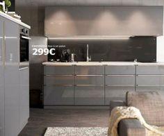 Gris effet laqué pour une cuisine contemporaine - Cuisine Ikea Metod : le meilleur du nouveau catalogue - CôtéMaison.fr