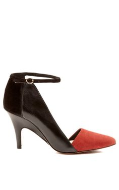 Val Suede Pointy Toe Pump With Ankle Strap by 10 Crosby Derek Lam