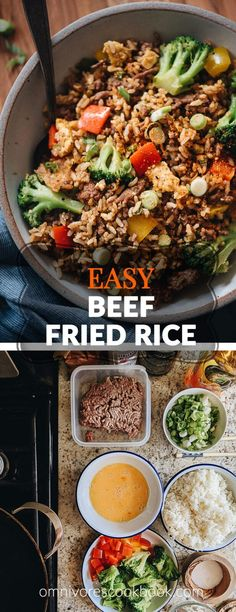 This easy beef fried rice uses a bold seasoning of chili and cumin. It requires very little prep and only takes 10 minutes to cook. Best Beef Recipes, Easy Rice Recipes, Lamb Recipes, Cookbook Recipes, Side Dish Recipes, Meat Recipes, Yummy Recipes, Recipies, Healthy Recipes