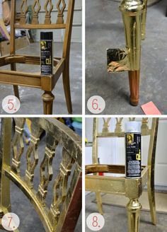 Gold leaf furniture - another approach to leafing using spray adhesive is a method i may want to look into Upcycled Furniture, Furniture Making, Diy Furniture, Gold Leaf Furniture, Painted Furniture, Antique Dining Chairs, Gold Diy, Vintage Rugs, Furniture Makeover