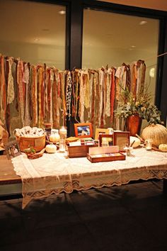 Fabric Banner. . i love how rustic this looks. esp the fall colors