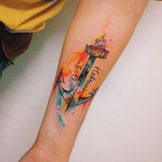 Anchor Tattoo - Watercolor by Felipe Bernardes