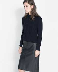 Image 2 of RIBBED CABLE KNIT SWEATER from Zara