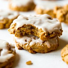 Massively flavorful and simple brown butter pumpkin oatmeal cookies with icing on top!