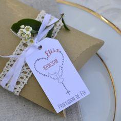 étiquette personnalisée, profession de foi, chapelet, coeur, papier blanc