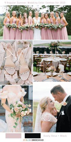 9 Popular Summer Wedding Color Combos for Dusty rose + Black. Black Wedding Themes, Pink Wedding Theme, Dusty Rose Wedding, Wedding Ideas, Dream Wedding, Wedding Planning, Wedding Trends, Elegant Wedding, Rustic Wedding