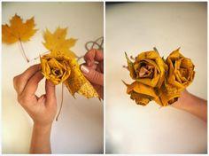 Róże z liści www.rekodzielo-art.pl