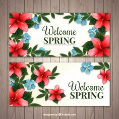 Spring banners with beautiful flowers Free Vector