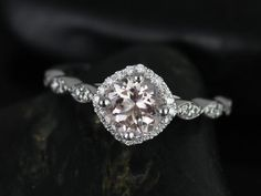 Katya 14kt White Gold Morganite and Diamonds Kite Cushion Halo WITHOUT Milgrain Engagement Ring (Other metals and stone options available)
