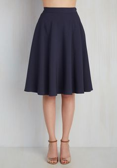 Just This Sway Skirt in Navy. You definitely have that swing when you step out in this midnight blue midi skirt! #blue #modcloth