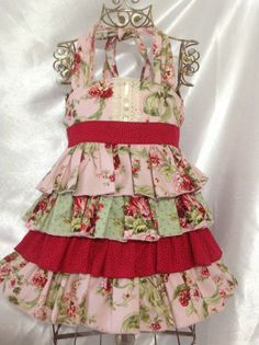 Girl Floral Ruffle Ellie Halter Dress Size 4 Handmade; Everyday Use; 100%cotton #Handmade #Everyday