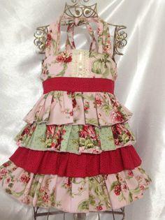 Girl Floral Ruffle Ellie Halter Dress Size 4 Handmade; Everyday Use; 100%cotton #Handmade #Everyday
