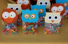 Owl party lolly bags by kendra Owl Parties, Owl Birthday Parties, Birthday Decorations, Birthday Ideas, Decoration Party, Owl Party Favors, Party Bags, Candy Favors, Lolly Bags