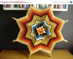 MOVING SALE God's Eye  Vintage Summer Camp Craft by HappyGoVintage, $26.60