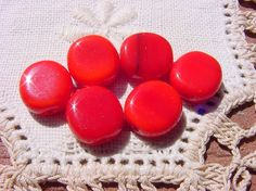 Tulip Red Discs Vintage Glass Beads by vintagebeadnut on Etsy, $3.50