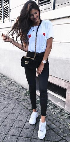 #fall #outfits women's red shirt and skinny jeans outfit