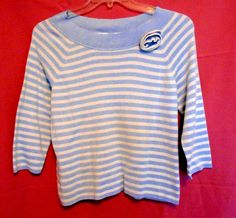 Emma James Size XL Lt. Blue White Stripe Boat Neck Rose Adorn 3/4 Sl. #EmmaJames #KnitTop #Career