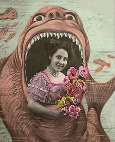 Woman in a Carnival Souvenir Photo Booth