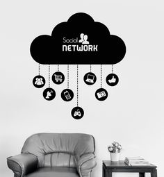 Vinyl Wall Decal Cloud Social Network Computer Technology IT Stickers (ig4073)