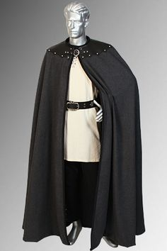 Men's Leather Trimmed Cloak No. 8  This is just gorgeous.