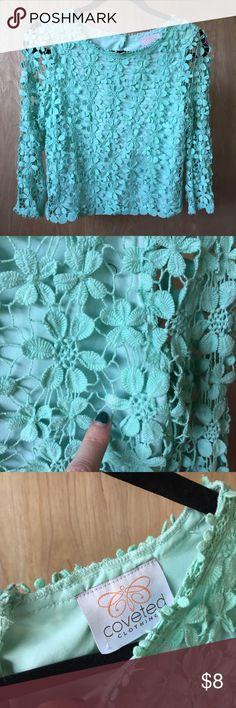 Coveted clothing mint/turquoise crochet flower top Coveted clothing turquoise/mint/Tiffany blue crochet lace blouse. Perfect for Coachella or throw over a skirt for a wedding. So versatile with button and slit detailing. Some parts show thinning of crochet as shown coveted clothing Tops Blouses