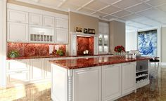 Excellent Kitchen Design Ideas from Meedo : Excellent Kitchen Design Ideas From Meedo With Red Marble Kitchen Countertop And Wooden Table Ca...
