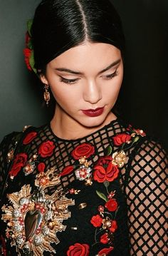 Kendall Jenner for Dolce and Gabbana SS15 Black lace and red embroidered dress