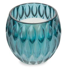 ALMOND blue glass candle H 9 cm