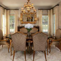 Golden Luxe Dining Room - Creighton Farm North Project - Lauren Nicole Designs - Interior Design Firm in Charlotte, NC - www.laurennicoleinc.com
