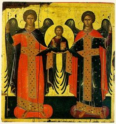 Archangel Michael and Archangel Gabriel with Christ in their center. Archangel Gabriel, Archangel Michael, Byzantine Art, Byzantine Icons, Religious Icons, Religious Art, Collages, Fall Of Constantinople, Zine