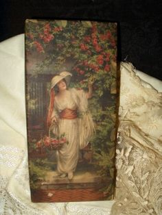 "Paper Covered Printed Candy Box With Edwardian Lady- 1920's era ""The Shelby Candy & Mfg Co., Shelby, Ohio"" printed on back side"