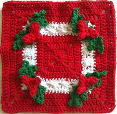 Best Free Crochet » #157 Holly Square Crochet Dishcloth – Maggie Weldon Maggies Crochet