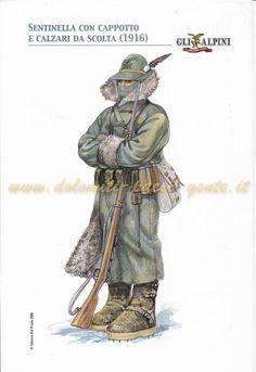 Sentinella degli Alpini con cappotto e calzari da scolta, 1916 Military Diorama, Military Art, Independence War, Ww1 Soldiers, Ww2 Uniforms, Italian Posters, Italian Army, National History, Figure Reference