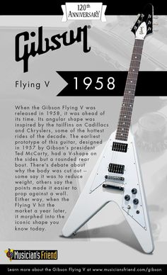 Learn about the iconic Gibson Guitar Flying V's history from 1958 to present. #Gibson120