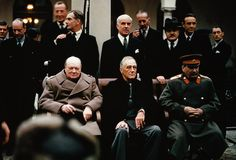 """pinner writes: IN COLOR. <3 """"Soviet leader Joseph Stalin, American president Franklin Roosevelt and British prime minister Winston Chruchill seated together during the Yalta Conference, 1945."""""""