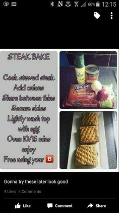 Slimming world steak bake Slimming World Tips, Slimming World Dinners, Slimming World Recipes Syn Free, Slimming Eats, Healthy Eating Recipes, Healthy Snacks, Cooking Recipes, Healthy Dinners, Beef Recipes