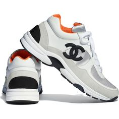 best service ab15a 2948d Calfskin   Fabric White, Silver   Orange Sneakers   CHANEL Chanel Sneakers, New  Sneakers