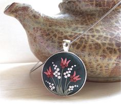 Tulip Flower Necklace Gray Pink White Necklace Pink by Floraljewel