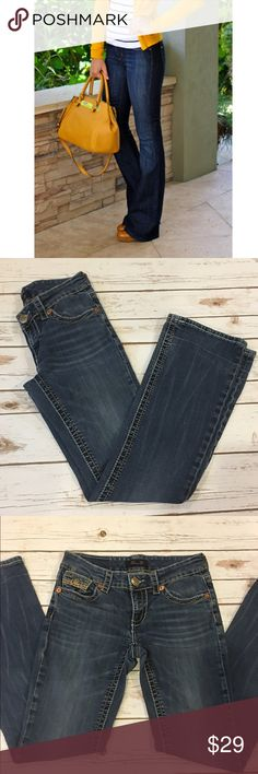 """Seven 7 Bootcut Jeans Bootcut Seven Jeans. Worn a handful of times. The inseam was too long so it was hemmed as shown in pic 4. The button is a bit scratched. Overall good condition. No rips or tears. Inseam 31""""/ front rise 8"""". Pic 1 for modeling purposes only (not actual jeans). Reasonable offers considered through offer button only. NO TRADES Seven7 Jeans Boot Cut"""