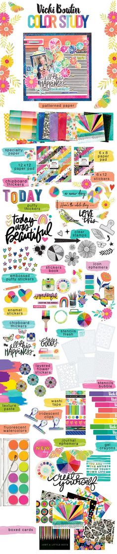 Vicki Boutin | Color Study collection Color Studies, American Crafts, Ephemera, Iridescent, Bullet Journal, Study, Paper, Scrapbooking, Cards