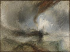 Joseph Mallord William Turner Snow Storm Steam-Boat off a Harbours Mouth, , Tate Gallery, London. Read more about the symbolism and interpretation of Snow Storm Steam-Boat off a Harbours Mouth by Joseph Mallord William Turner. Joseph Mallord William Turner, Turner Painting, Painting & Drawing, Painting Snow, Monet, Art Romantique, Half Elf, Steam Boats, Paint Set