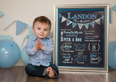 One Year Portraits - Tampa Family & Child Photographer Sherri Kelly. Studio child session with chalkboard birthday sign, balloons & banner for boy's first birthday.