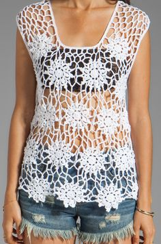 Feel the Piece Crochet Pop Over Top em Branco | REVOLVE