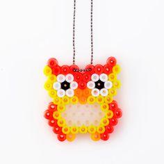 Owl pendant hama beads by VingborgDesign kirjoneuleeseen