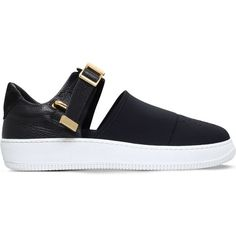 BUSCEMI 60mm cut-out neoprene trainers ($580) ❤ liked on Polyvore featuring men's fashion, men's shoes, men's sneakers, black and mens perforated shoes