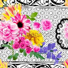 Bright Colored Flower on The Background IN Black and Seamless stock vector - Clipart.me